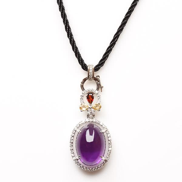【寶石方塊】青雲直上天然紫水晶項鍊-925銀飾