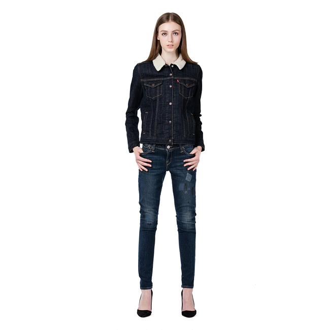 【Levis】女款長袖牛仔夾克外套 / 毛領