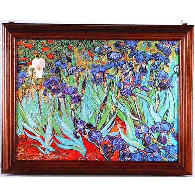 【開運陶源】《梵谷-鳶尾花》原木鑰匙盒壁飾-大