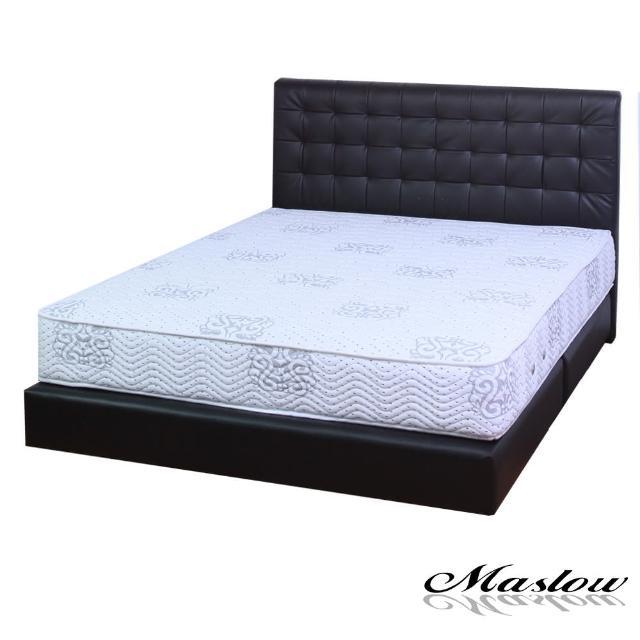 【Maslow-時尚格紋黑色皮製】單人床組-3.5尺(不含床墊)
