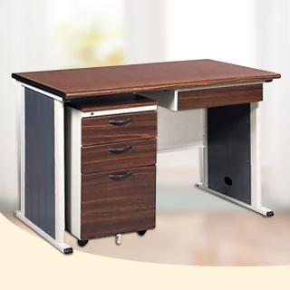 【時尚屋】120CM 胡桃木紋色辦公桌櫃組(246-5)