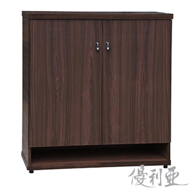 【優利亞-簡約胡桃】3尺對開鞋櫃(全木心板)