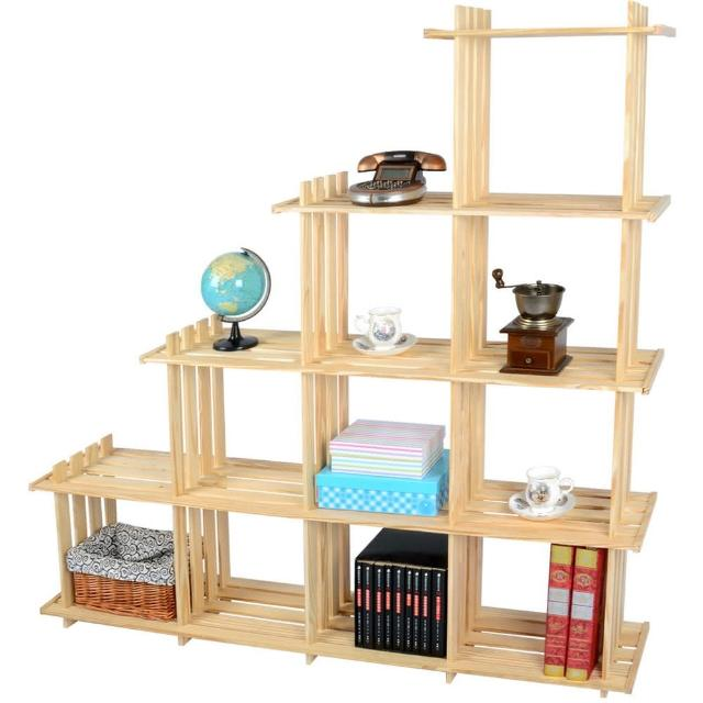 【LIFECODE】極簡風黃松木斜十格架-實木置物架-書架-花架