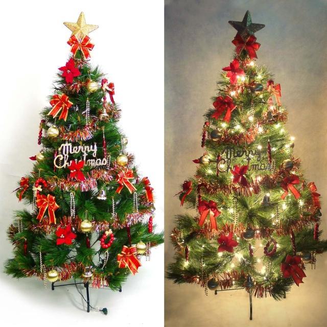 【聖誕裝飾品特賣】台灣製6尺-6呎(180cm特級綠松針葉聖誕樹+紅金色系配件組+100燈鎢絲樹燈2串)