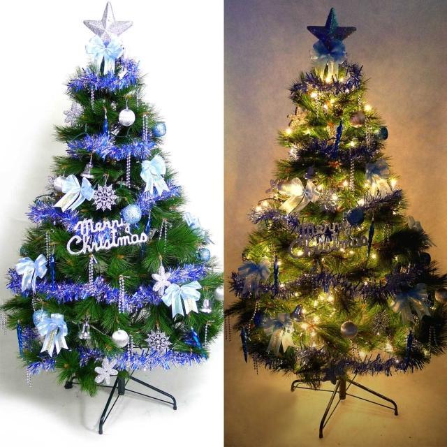 【聖誕裝飾品特賣】台灣製6尺-6呎(180cm特級綠松針葉聖誕樹+藍銀色系配件組+100燈鎢絲樹燈2串)