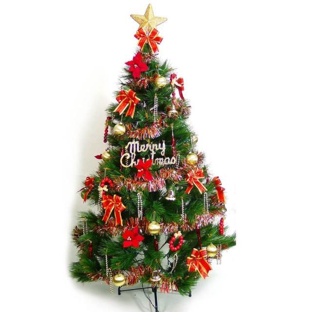 【聖誕裝飾特賣】台灣製7尺-7呎(210cm特級綠松針葉聖誕樹+紅金色系配件(不含燈)