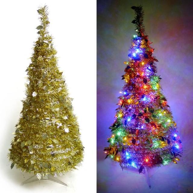 【聖誕裝飾特賣】4尺-4呎(120cm 創意彈簧摺疊聖誕樹 金色系+LED100燈串一條 9光色可選)