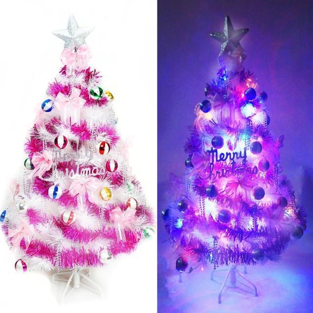 【聖誕裝飾品特賣】台灣製4尺(120cm特級白色松針葉聖誕樹-馬卡龍粉紫色+100燈LED燈一串-附控制器)