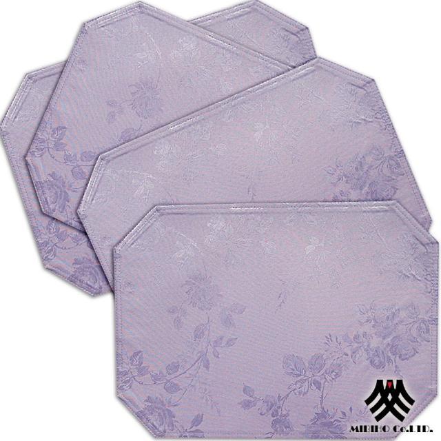 【M.B.H─玫瑰花園】緹花防潑水餐墊(紫4入)