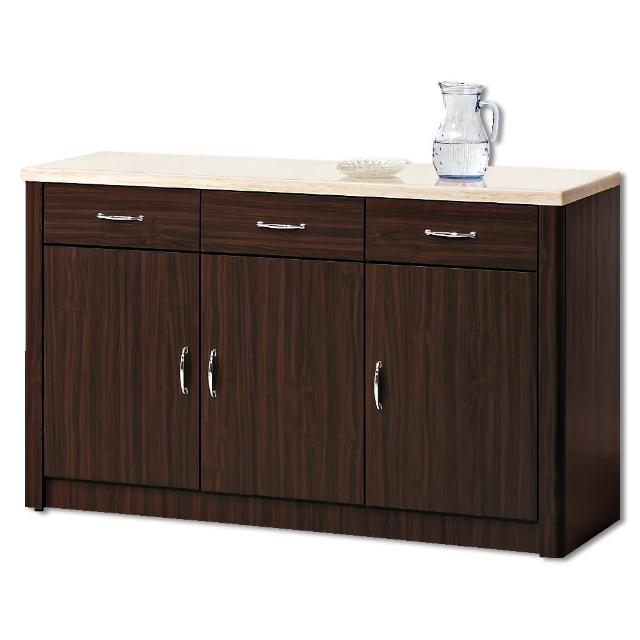 【顛覆設計】卡里胡桃色4尺仿石面餐櫃下座