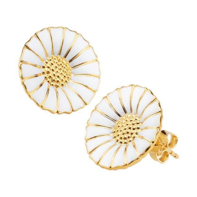 【Georg Jensen】Daisy 純銀鍍K金+白琺瑯雛菊針式耳環-大