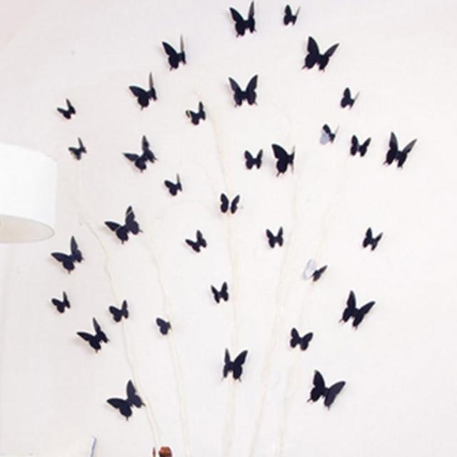 【香草花園】3D立體蝴蝶壁貼-牆貼(2入組)