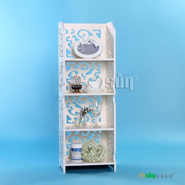 【Osun】DIY木塑板置物架 歐式白色雕花四層巴洛克經典款(CE-178-8030)