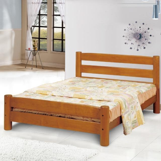 【綠活居】艾卡菲 柚木色實木3.5尺單人床台