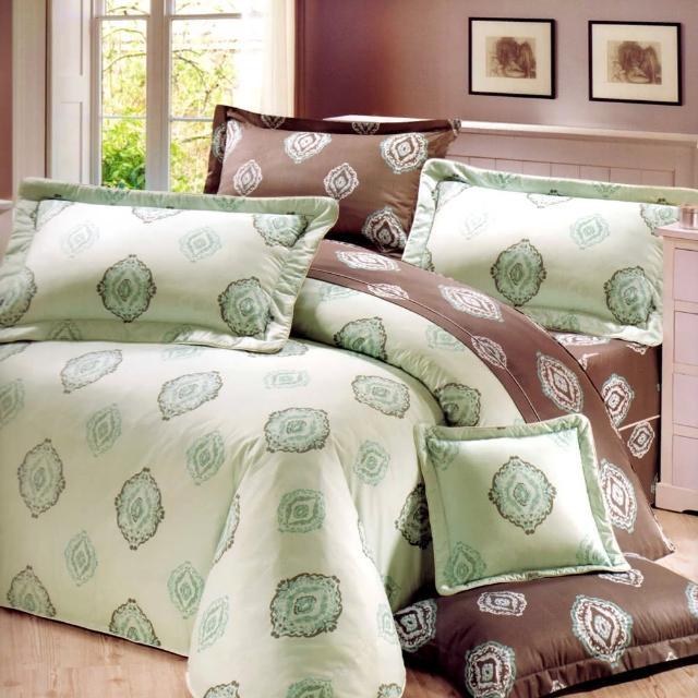 【艾莉絲-貝倫】青青森林(6.0呎x6.2呎)四件式雙人加大(100%純棉)鋪棉兩用被套床包組(綠色)