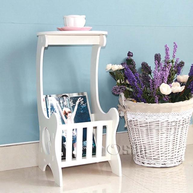 【Osun】DIY木塑板置物架 歐式白色雕花書報茶几(CE-178-書報茶几-桌)