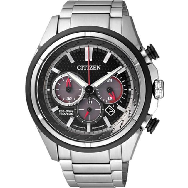 【CITIZEN 星辰】Eco-Drive 鈦金屬光動能計時腕錶(CA4241-55E)