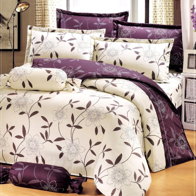 【艾莉絲-貝倫】花香樂譜(6.0呎x7.0呎)四件式雙人特大(100%純棉)鋪棉涼被床包組(米色)