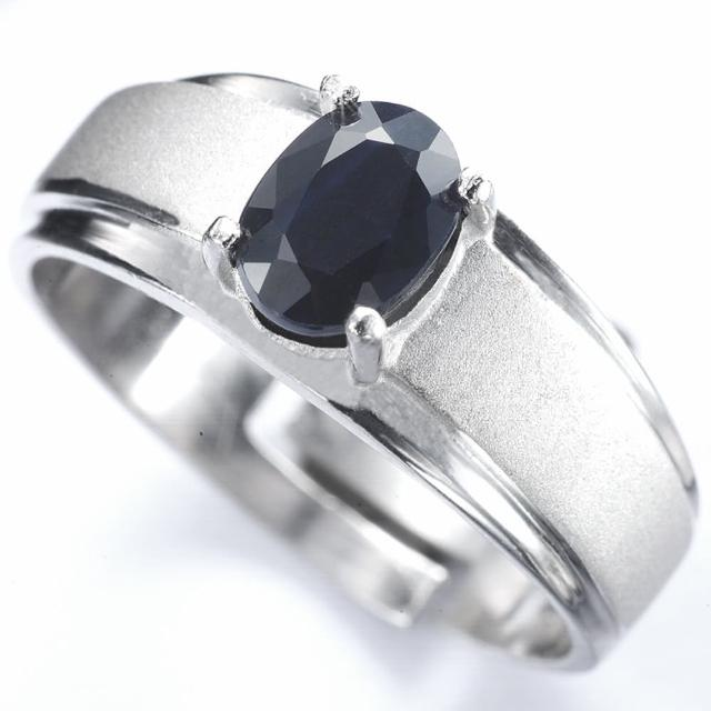 【寶石方塊】真情相愛1克拉天然黑藍寶石戒指