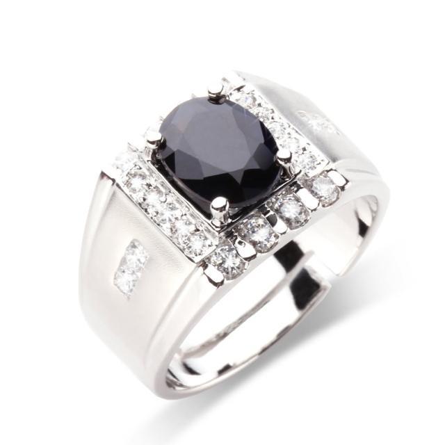 【寶石方塊】君臨天下天然2克拉黑藍寶石戒指