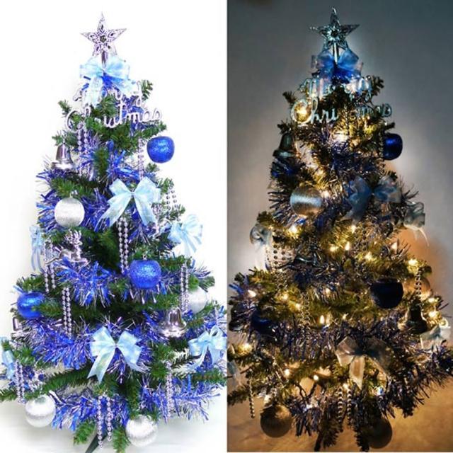 【聖誕裝飾特賣】幸福3尺-3呎(90cm一般型裝飾綠聖誕樹 藍銀色系+100燈鎢絲樹燈串)