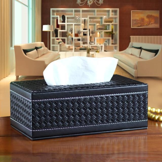 【幸福揚邑】精品編織格紋皮革 磁吸式收納面紙盒-紙巾盒-時尚黑