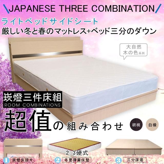 【HOME MALL-民宿風崁燈】雙人5尺三件式硬式彈簧床組(2色)