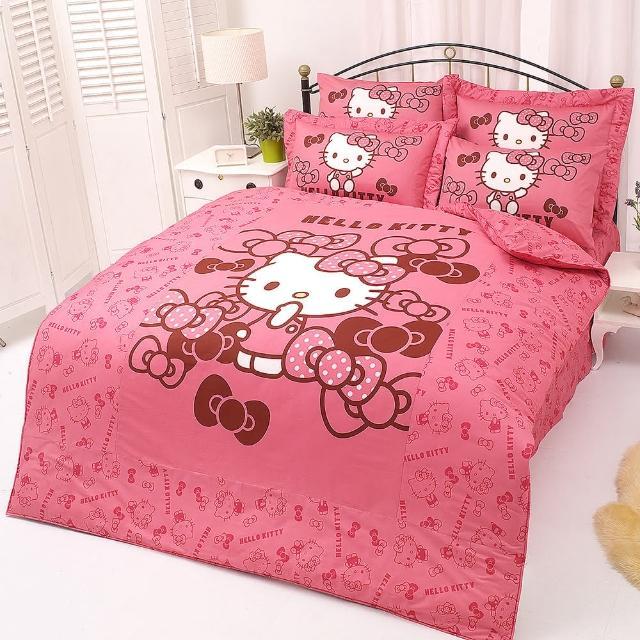 【享夢城堡】HELLO KITTY 我的小可愛系列-單人純棉三件式床包涼被組(紅.粉)