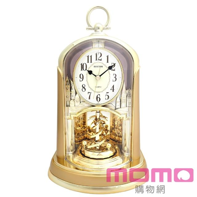 【RHYTHM日本麗聲】優雅宮廷旋轉擺錘裝飾靜音座鐘(宮廷素金)