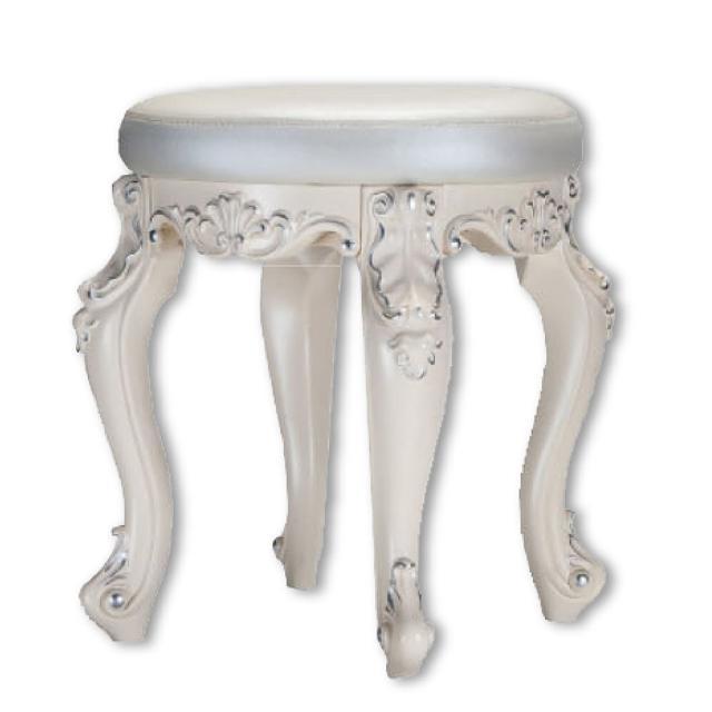 【AS】路易絲歐式雕花銀白化妝椅