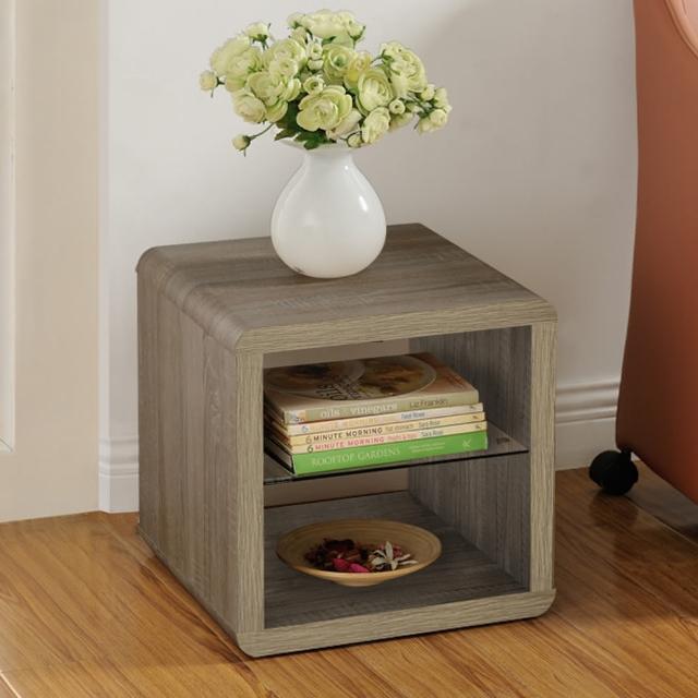 【FUN生活】DIY極簡造型小茶几桌-邊桌-置物櫃(深橡色-胡桃色)