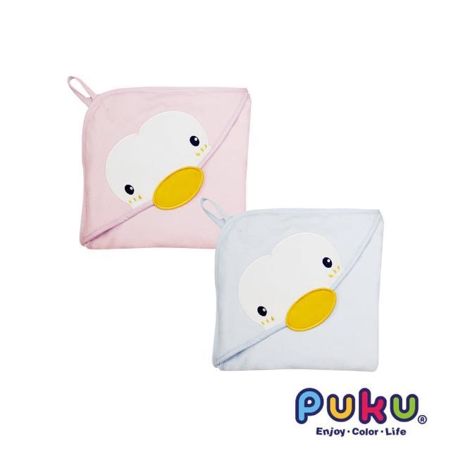 【PUKU藍色企鵝】造型連帽紗布浴巾-75-75cm(粉色)
