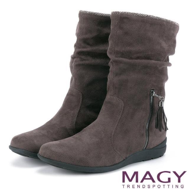 【MAGY瑪格麗特】暖冬時尚 2WAY抓皺絨布素面百搭中筒靴(咖啡)