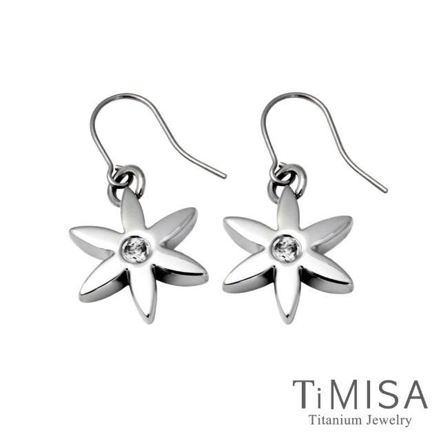 【TiMISA】花漾年華-晶鑽版 純鈦耳勾一對(透亮白)