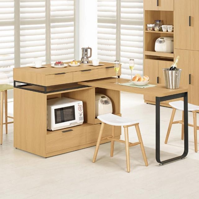 【Bernice】諾文4尺中島型多功能餐桌-餐櫃(三色可選)