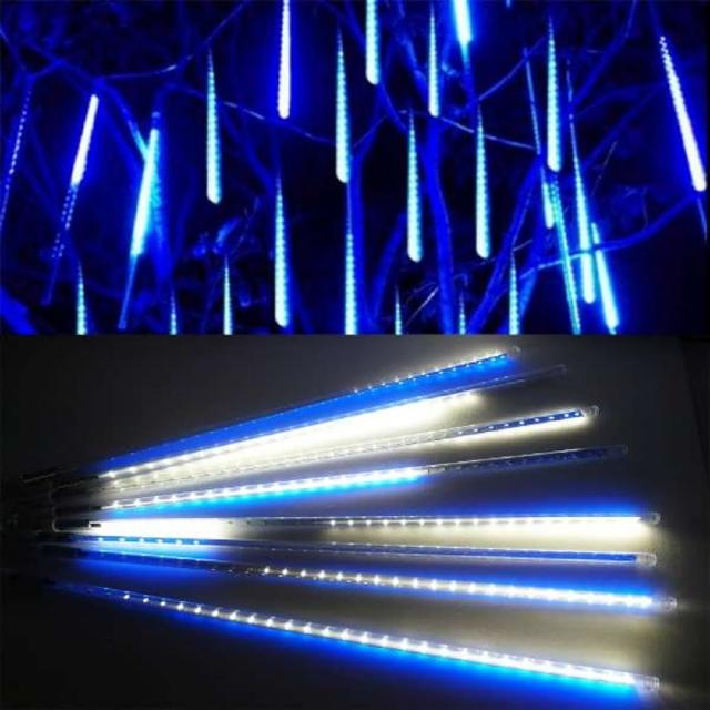 【聖誕裝飾品特賣】聖誕燈裝飾燈LED流星燈串8條燈(藍白光插電式-單燈長50cm)