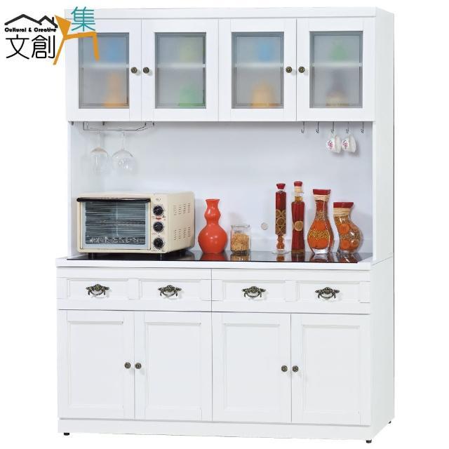 【文創集】史托斯    典雅白5.1尺玻璃餐櫃-收納櫃組合(上+下座)
