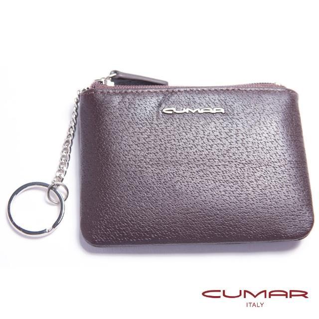 【CUMAR】紳士義大利牛皮-零錢-鑰匙-卡片包-咖啡色-單層