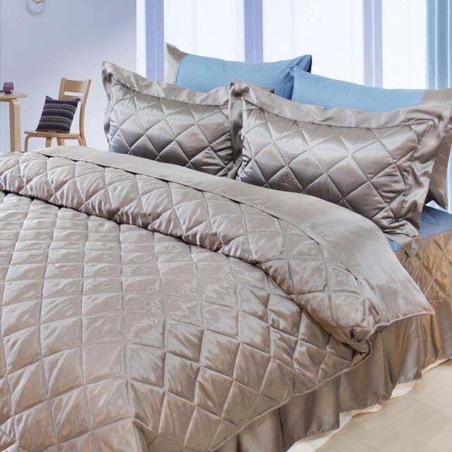 【LAMINA】LAMINA 雙色亮面精梳棉六件式床罩組-灰藍(雙人)