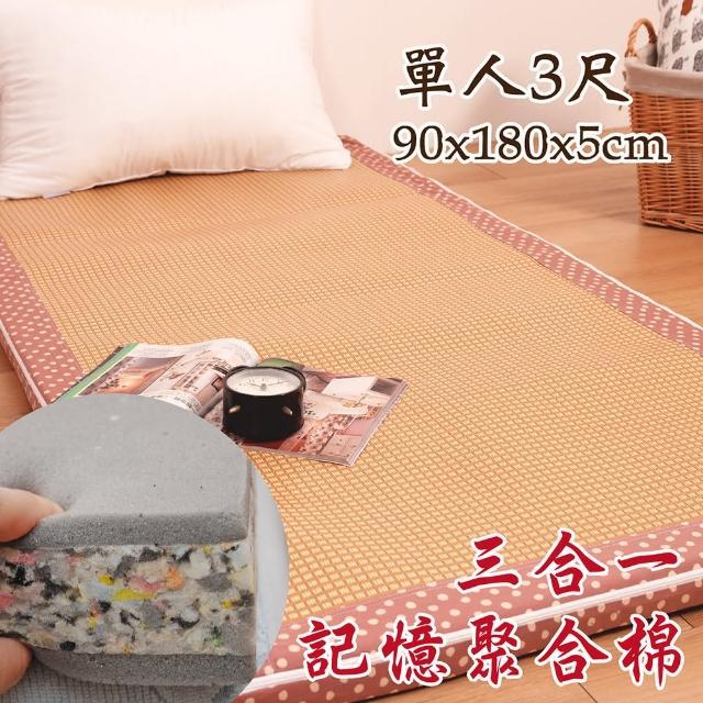 【Embrace英柏絲】水玉點點 純棉紙纖三明治記憶聚合床墊 全開拉鍊 學生 床墊(單人3尺)