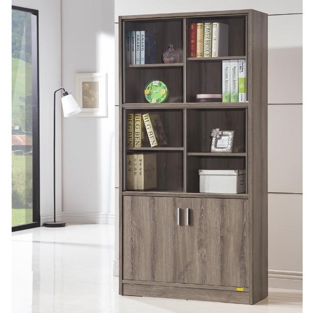 【COMDESK】十二格雙門玻璃書櫃-3D木紋-深木色(置物櫃-收納櫃)