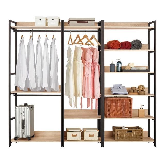 【Bernice】裴拉7.3尺開放式組合衣櫃(雙吊+單桿+多層收納)