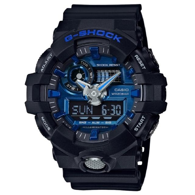 【CASIO】G-SHOCK 3D立體整點刻度搶眼磨砂效果設計雙顯錶(GA-710-1A2)
