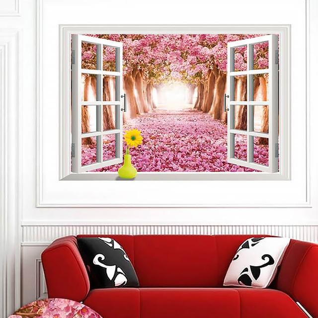 【半島良品】DIY無痕創意牆貼壁貼-假窗浪漫櫻花步道_AY9234D(無痕壁貼 牆貼 壁貼紙 創意璧貼)
