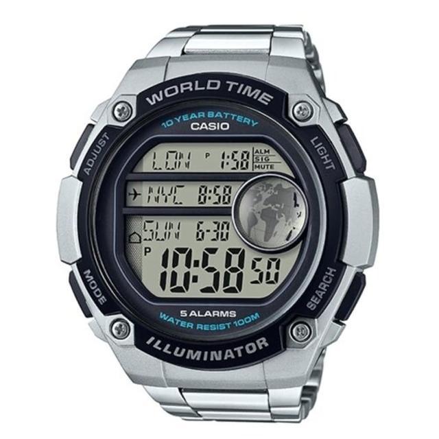 【CASIO】10年電池大螢幕運動不鏽鋼錶-銀(AE-3000WD-1A)