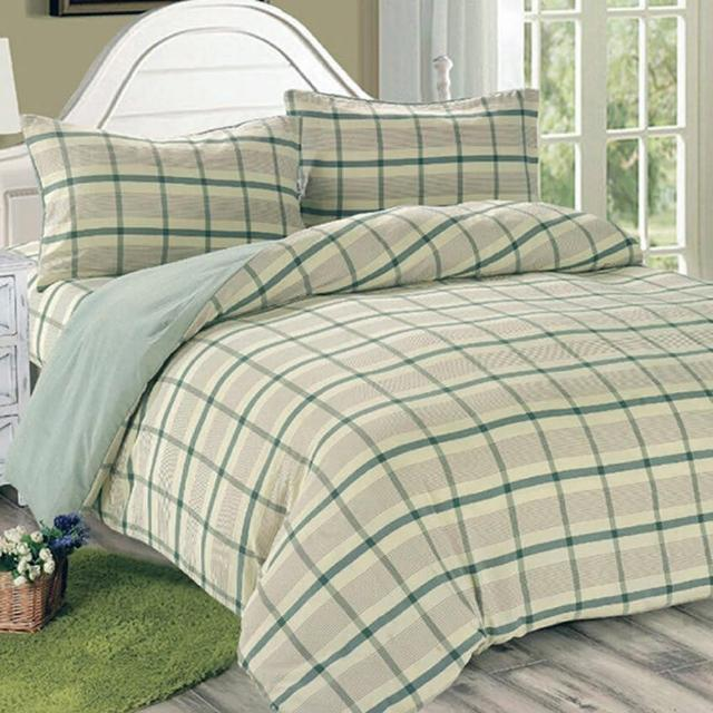 【Victoria】日式條紋四件式單人床包被單組-葉綠(水洗磨毛日式簡約風)
