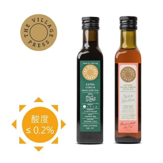 【壽滿趣- 紐西蘭廚神系列】頂級冷壓初榨黃金酪梨油-香辣西西里風味橄欖油(250ml 兩瓶禮盒裝)
