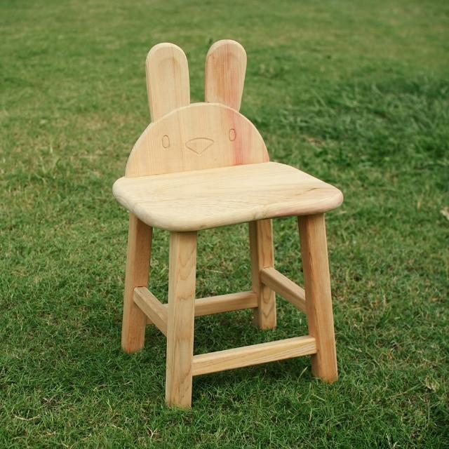 【MU LIFE 荒木雕塑藝品】可愛動物無垢檜木兒童椅(兔兔)