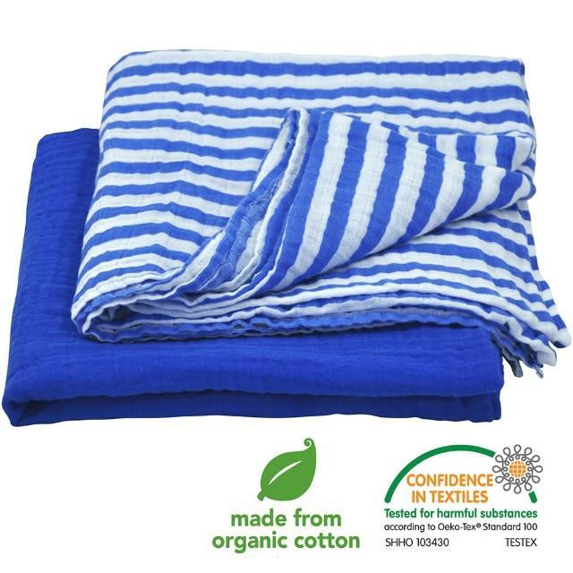 【美國green sprouts】有機棉細紗包巾2入組_深藍組(GS334190-4)