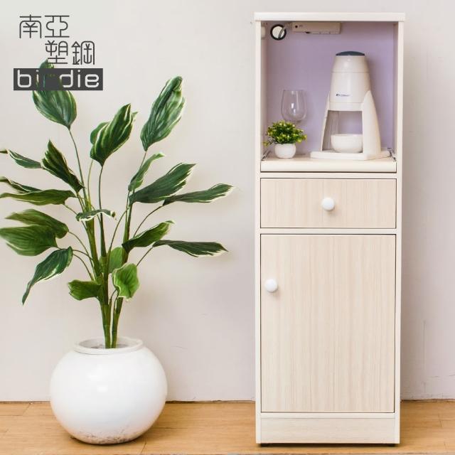 【Birdie南亞塑鋼】1.4尺單門單抽塑鋼電器櫃-收納餐櫃(白橡色)